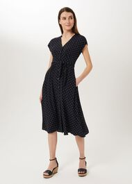 Magnolia Spot Midi Dress, Navy Ivory, hi-res