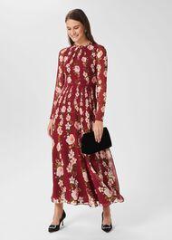 Rosabelle Silk Floral Dress, Burgundy Multi, hi-res