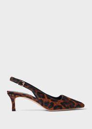 Kiera Animal Kitten Heel Slingback Court Shoes, Leopard, hi-res