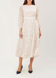 Selena Dress, Ivory Navy, hi-res