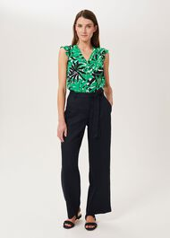 Jacqui Linen Trousers, Navy, hi-res