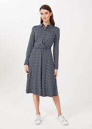 Aretha Jersey Printed Dress, Navy Ivory, hi-res