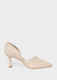 Maya Suede D'Orsay Court Shoes, Pale Oyster, hi-res
