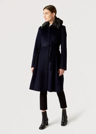 Edeline Wool Coat, Navy, hi-res