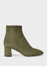 Imogen Suede Block Heel Ankle Boots, Olive, hi-res