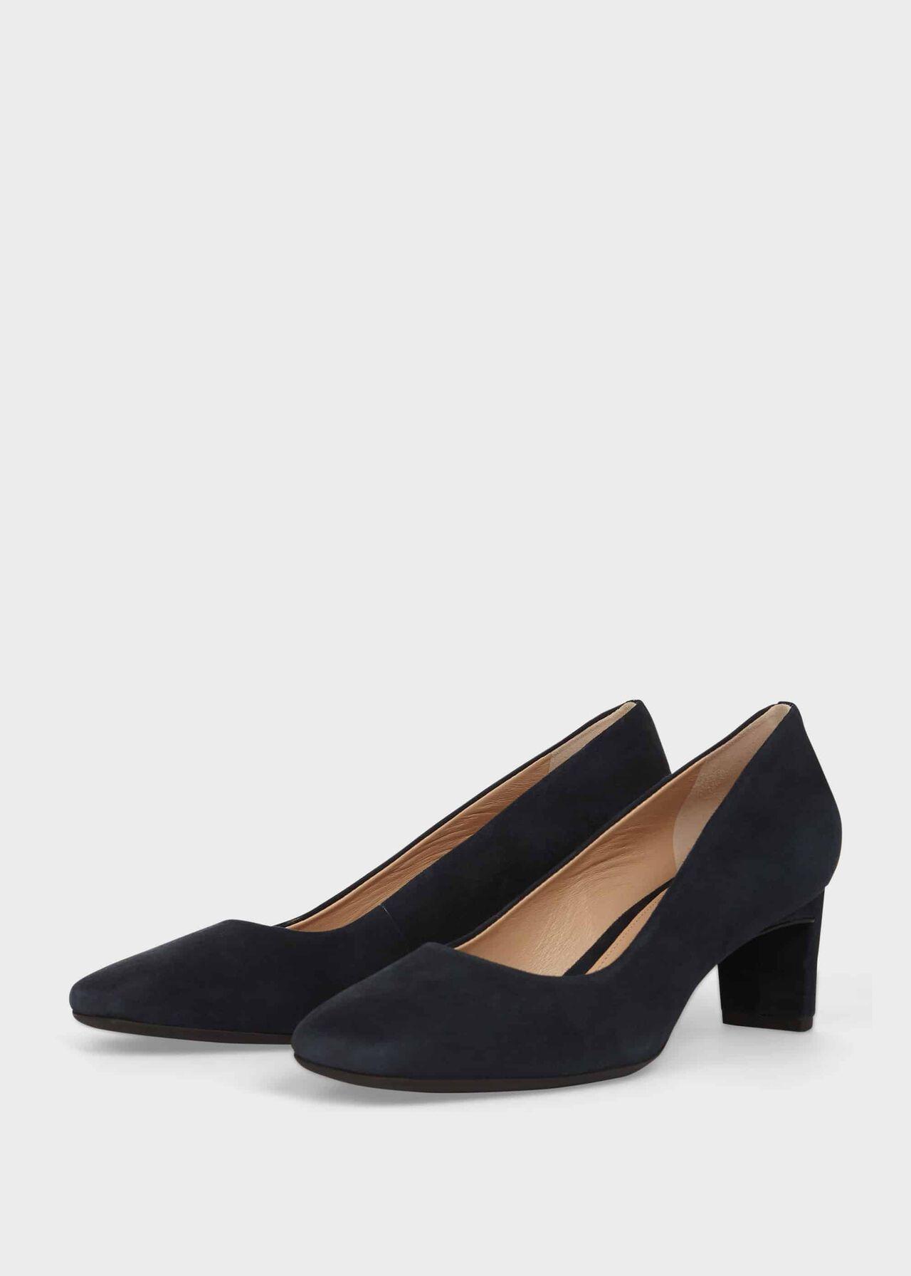 Myra Suede Block Heel Court Shoes Navy