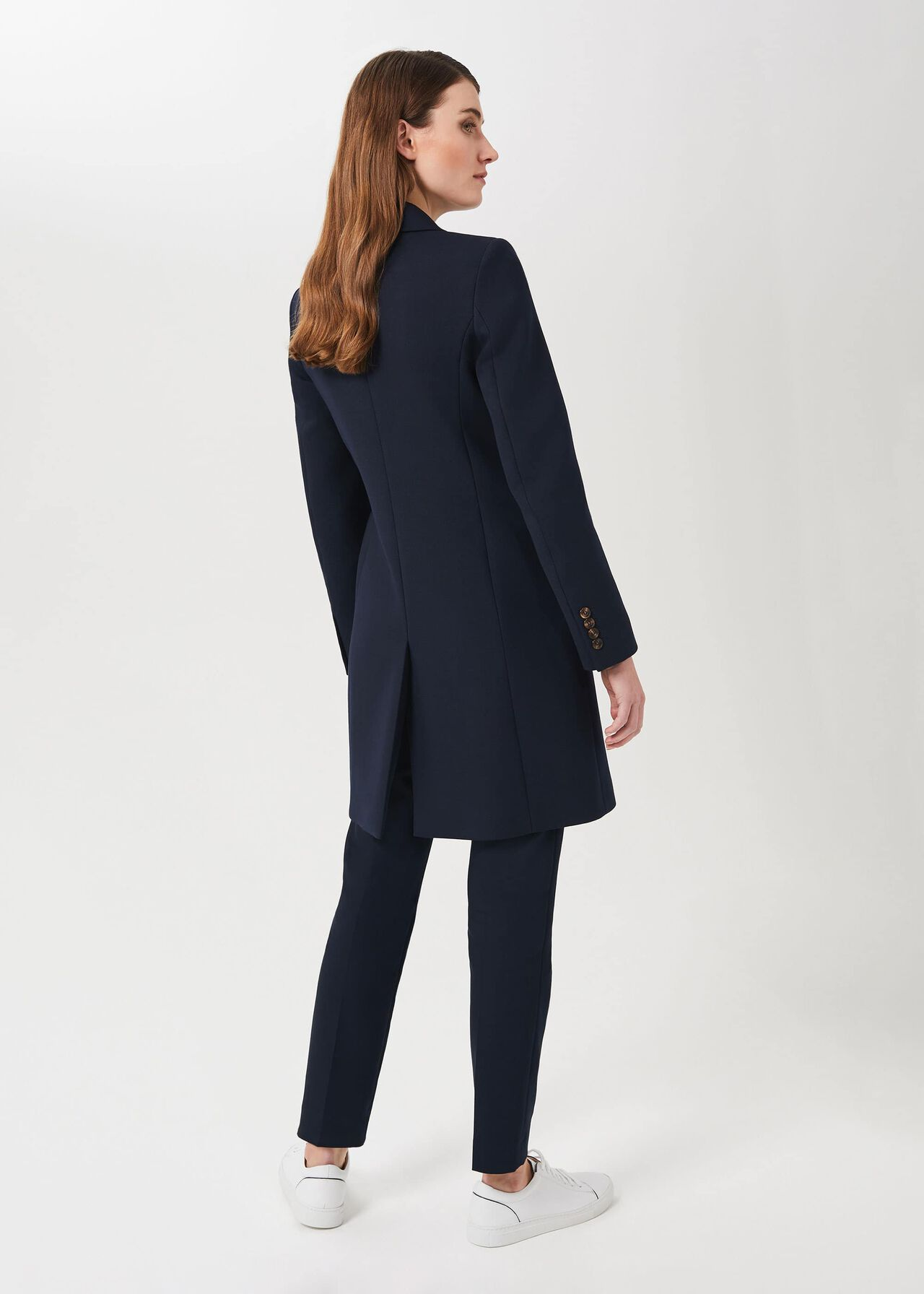 Melanie Double Breasted Coat With Wool, New Navy, hi-res