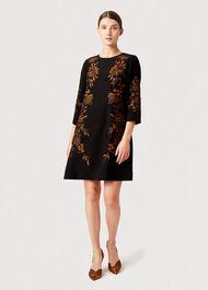 Lynn Embroidered Floral Dress, Black Orange, hi-res