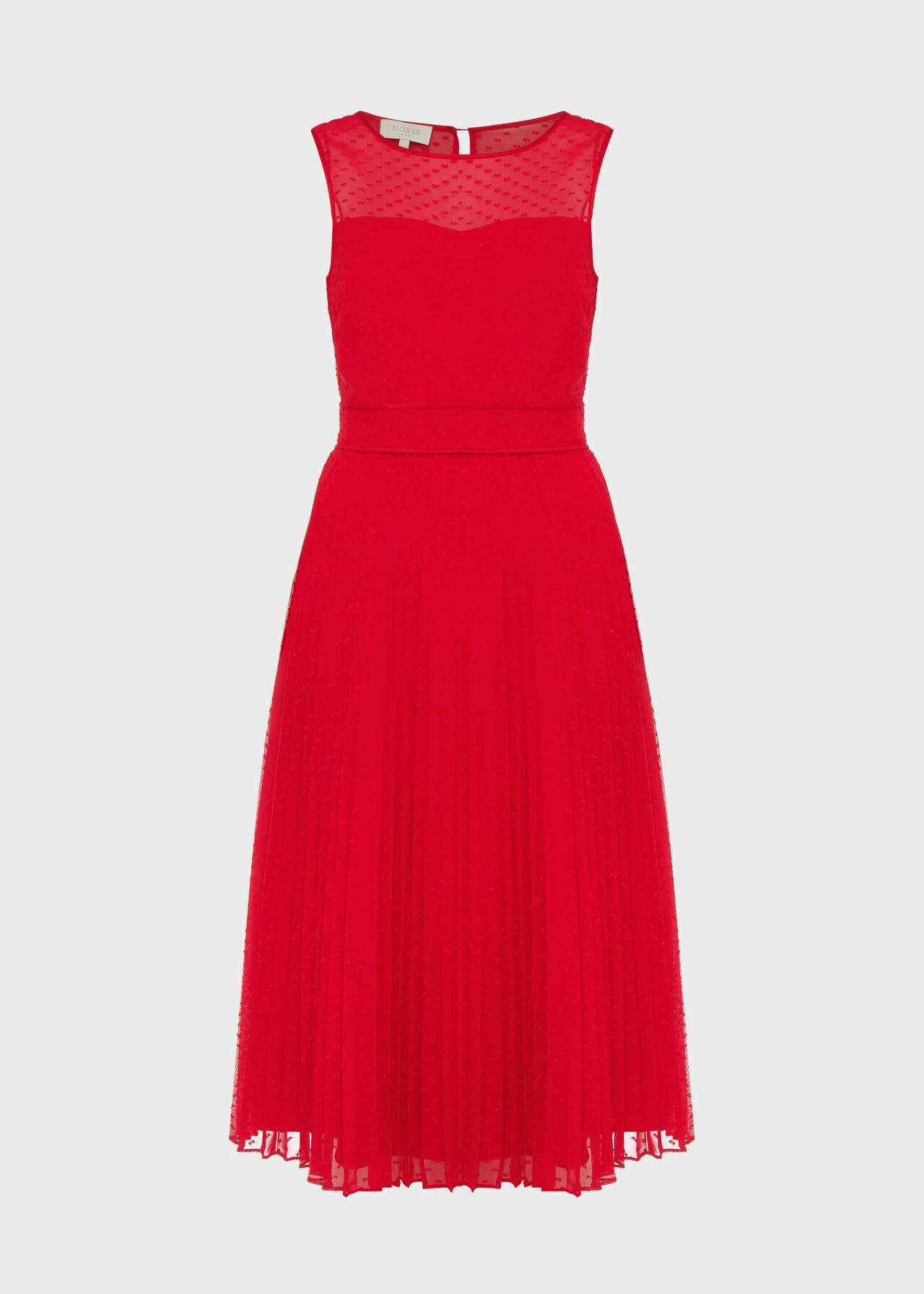 Palmer Jacquard Pleated Dress Poppy Merlot