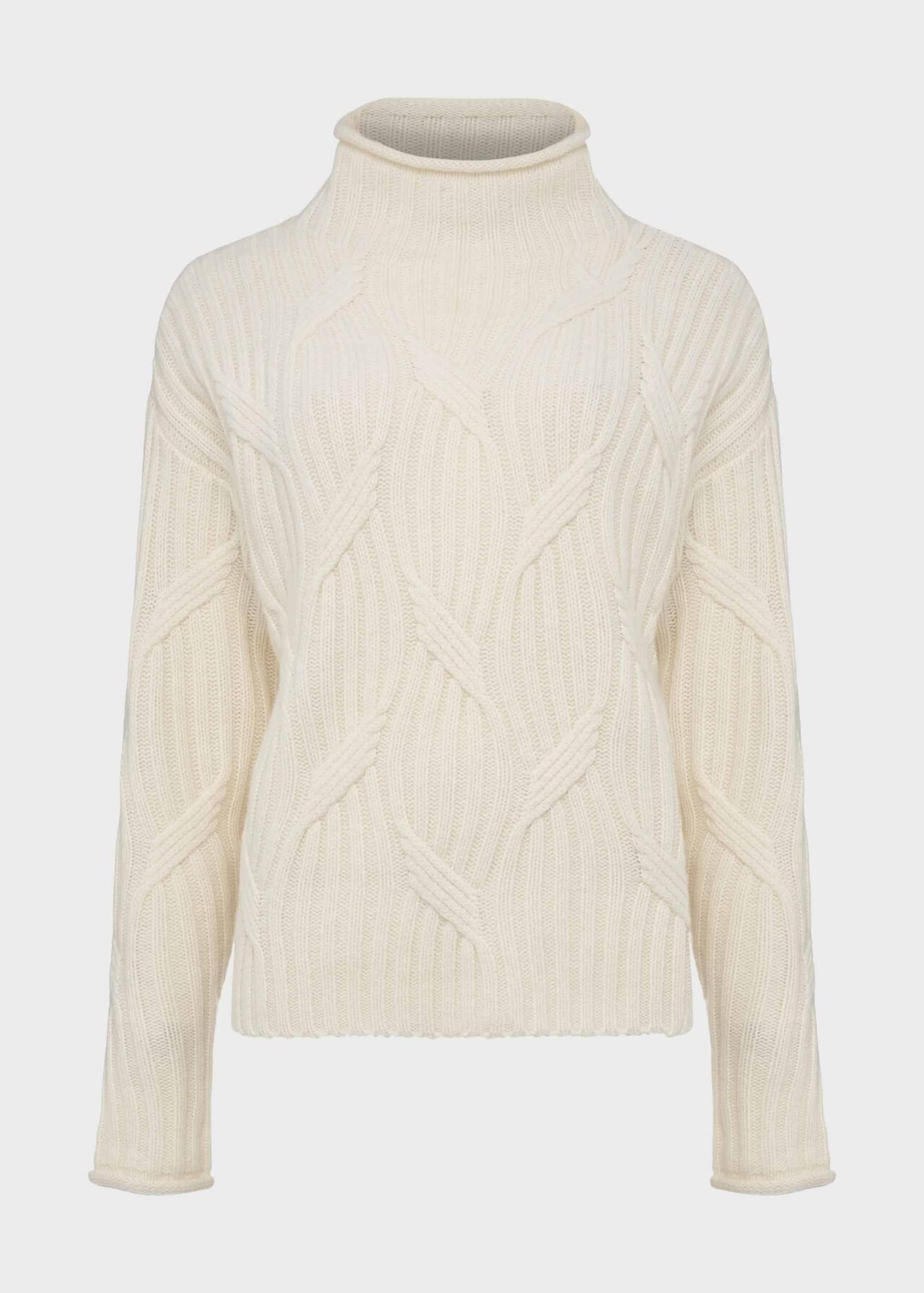 Malikah Wool Blend Cable Jumper, Ivory, hi-res