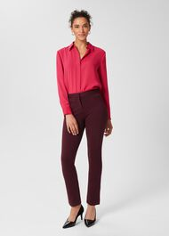 Annie Jersey Trousers, Burgundy, hi-res