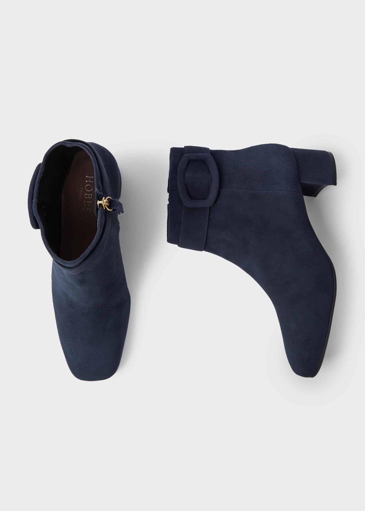 Hailey Suede Block Heel Ankle Boots, Navy, hi-res