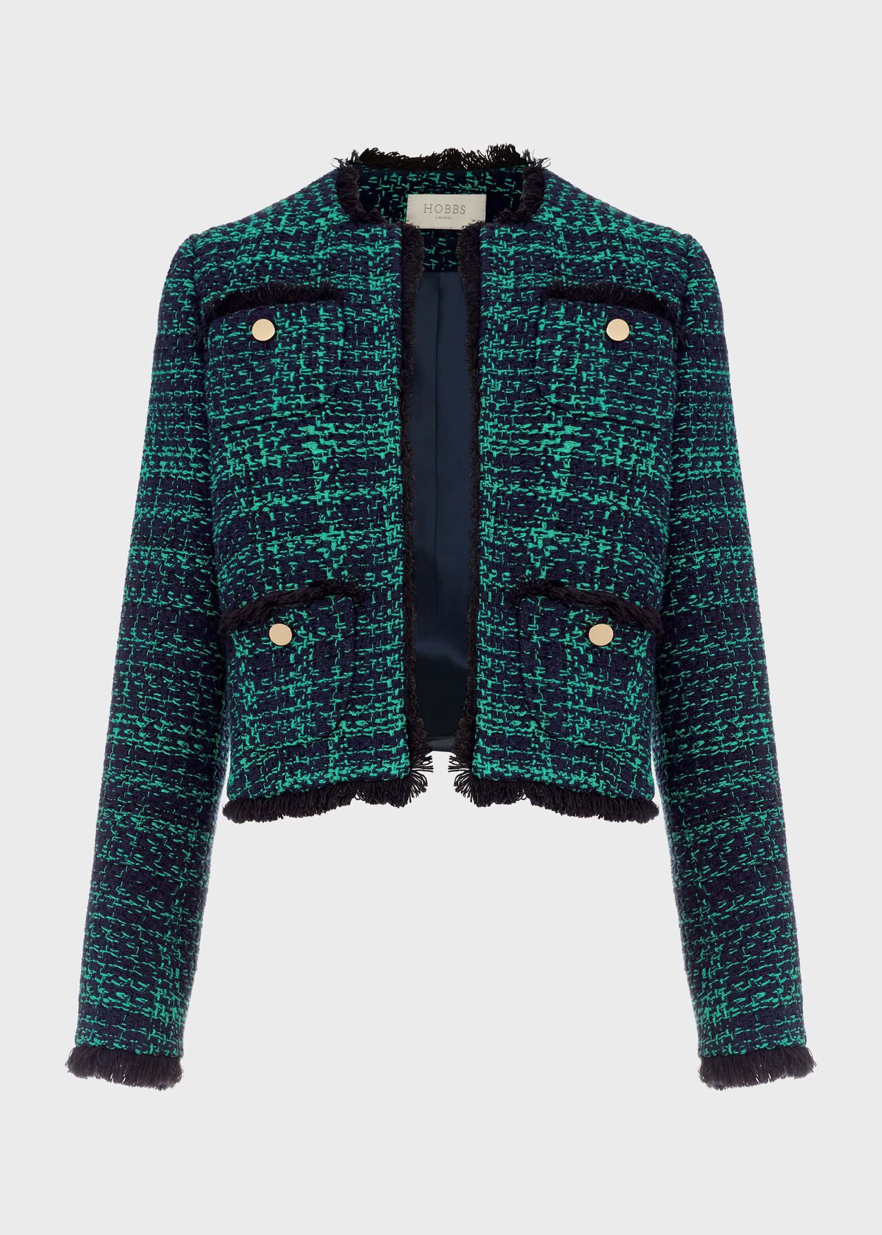 Rosa Tweed Jacket Navy Apple Grn