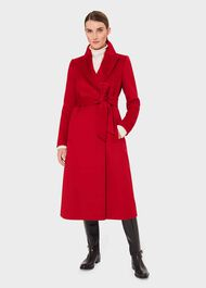 Olivia Wool Wrap Coat, Red, hi-res