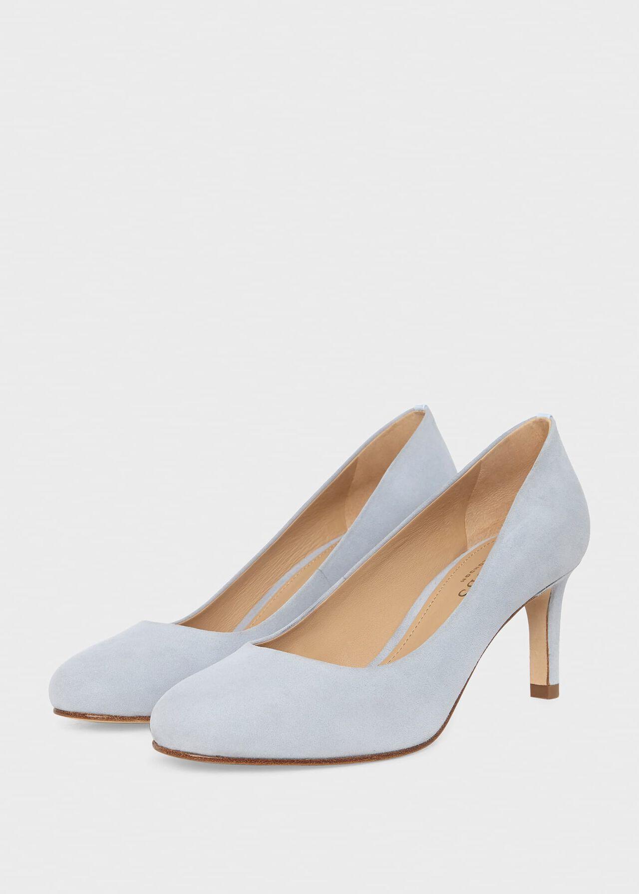 Lizzie Suede Court Shoes Celeste Blue