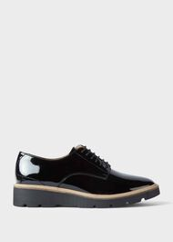 Bloomsbury Patent Flat Shoes, Black, hi-res