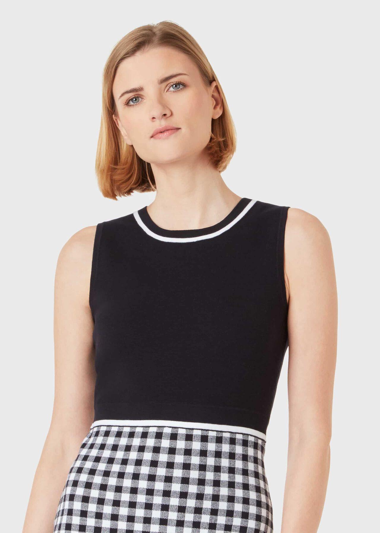 Saffi Cotton-Blend Knitted Dress, Navy White, hi-res