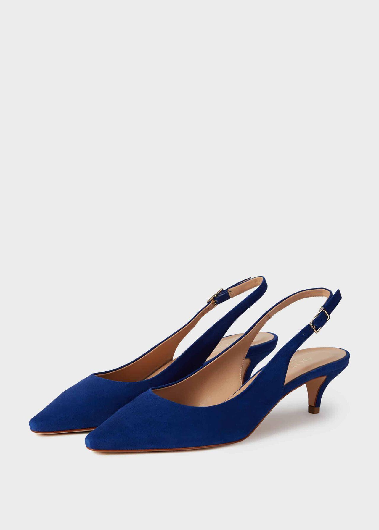 Annie Suede Kitten Heel Slingback Court Shoes Cobalt