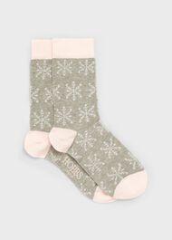 Snowflake Sock, Grey Pink, hi-res