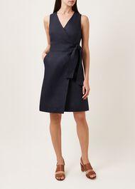 Annette Linen Dress, Navy, hi-res