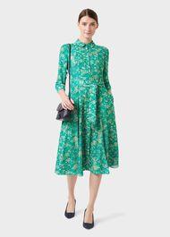 Lillian Floral Shirt Dress, Meadow Grn Mlti, hi-res