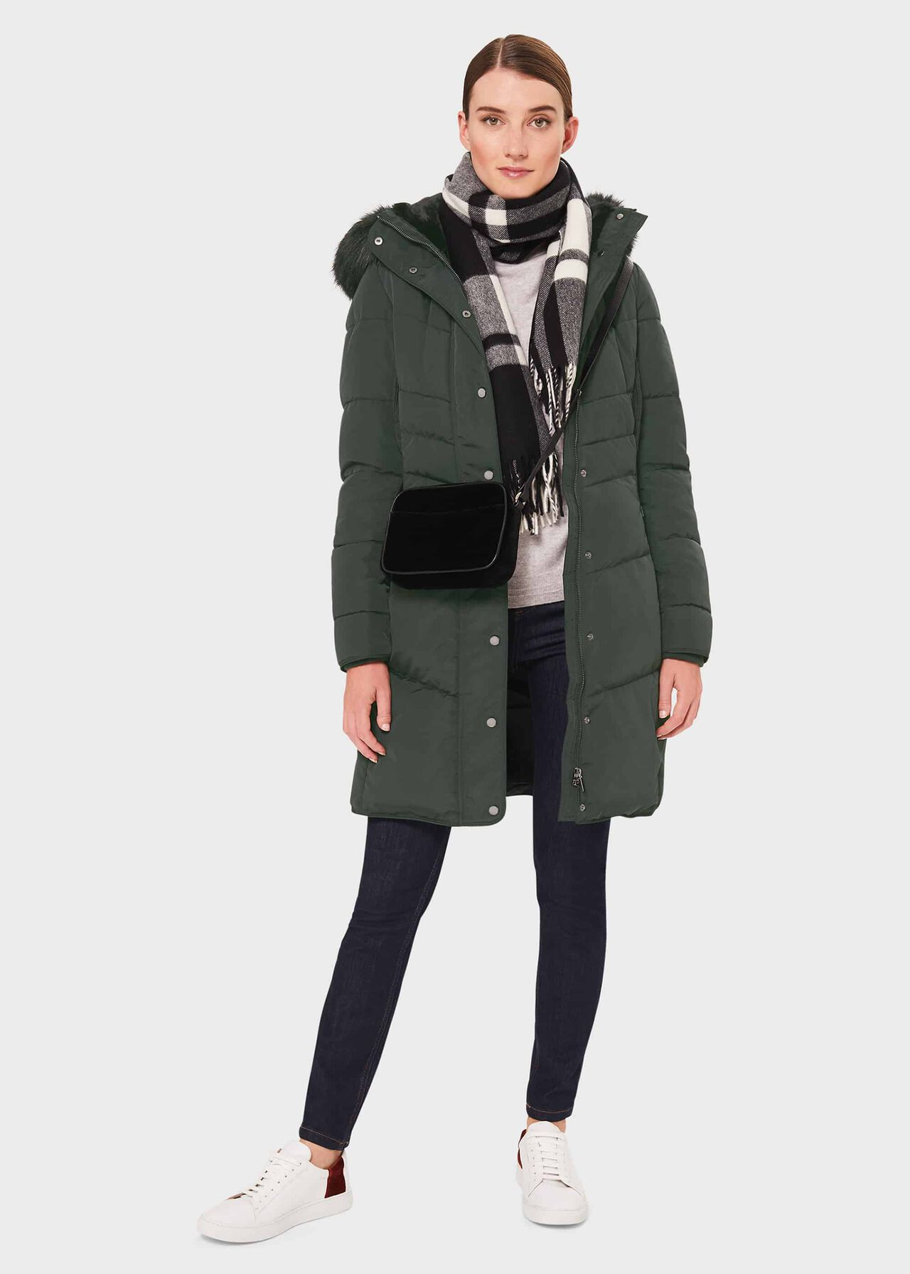 Petite Lettie Puffer Jacket, Green, hi-res