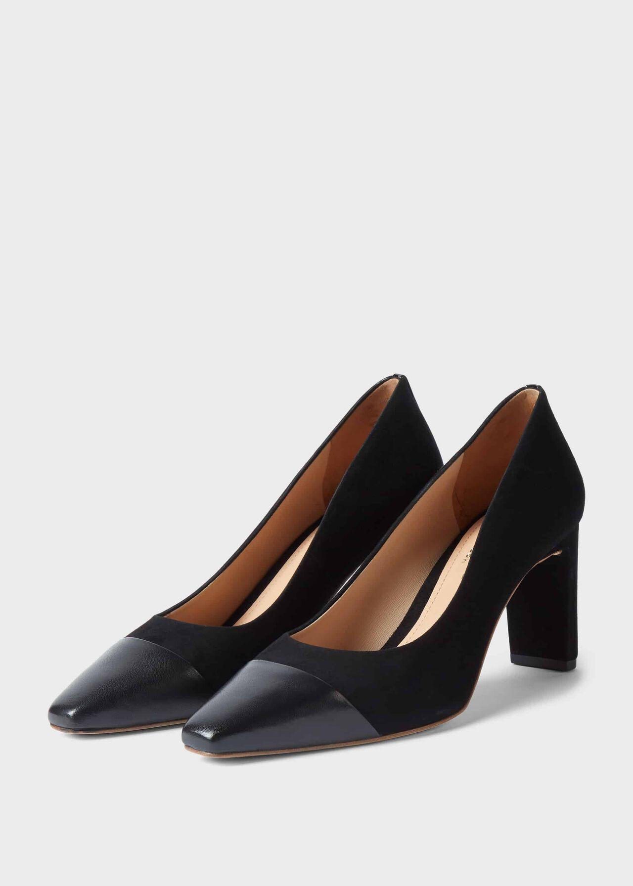 Christina Suede Bock Heel Court Shoes Black