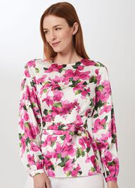 Rosie Floral Top, Ivory Fuchsia, hi-res