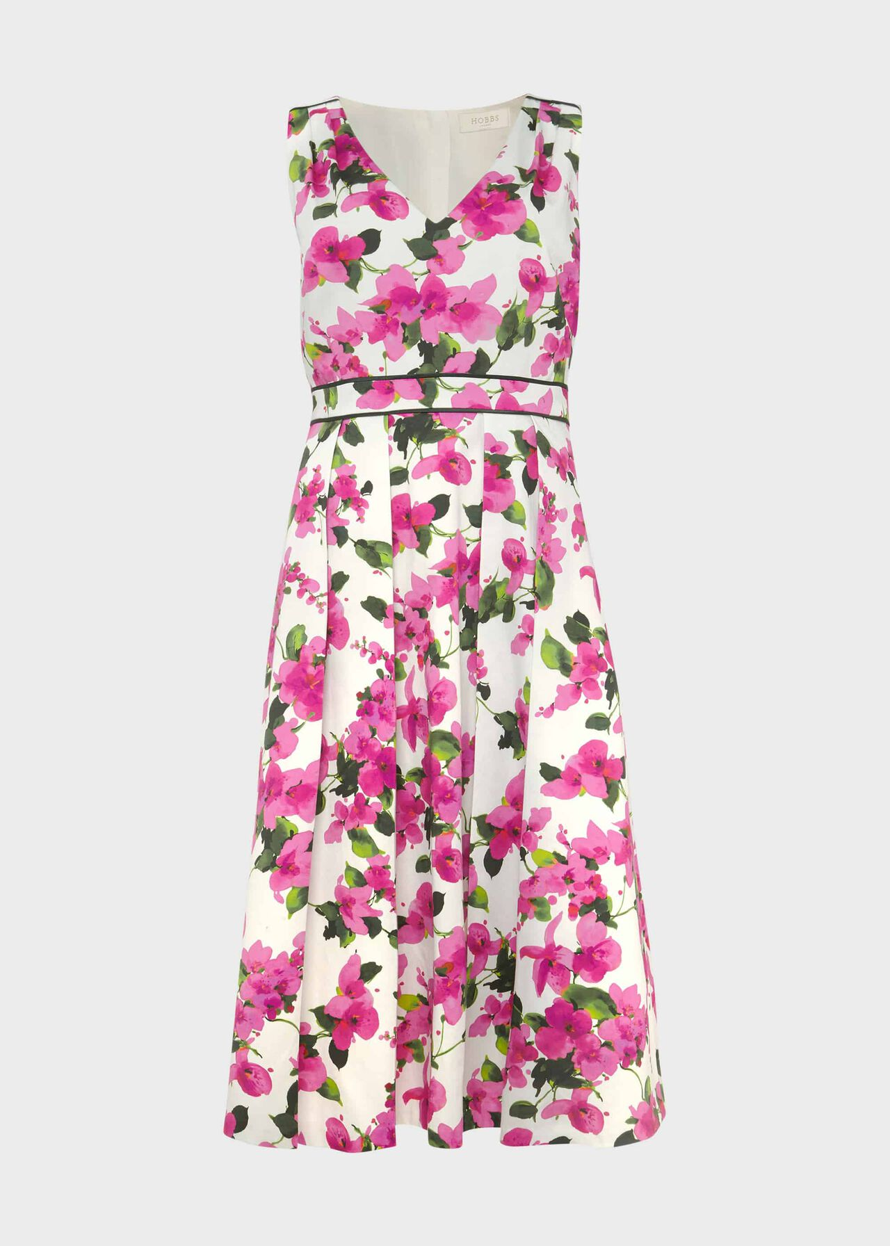 Olivia Cotton Blend Dress Ivory Fuchsia