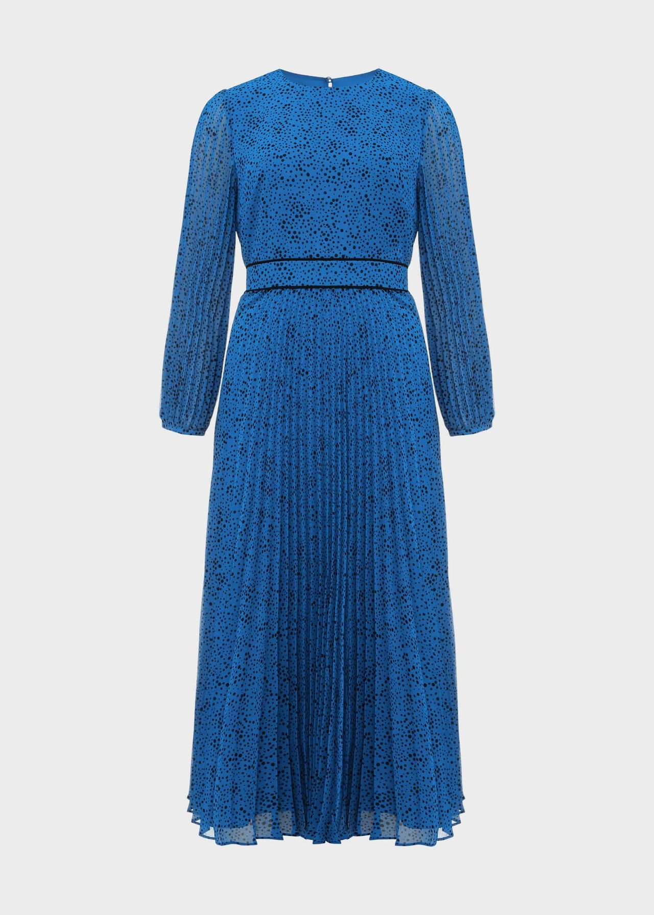 Isabella Spot Pleated Midi Dress Kingfisher