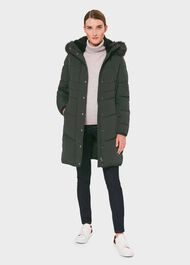 Lettie Puffer Jacket With Hood, Green, hi-res
