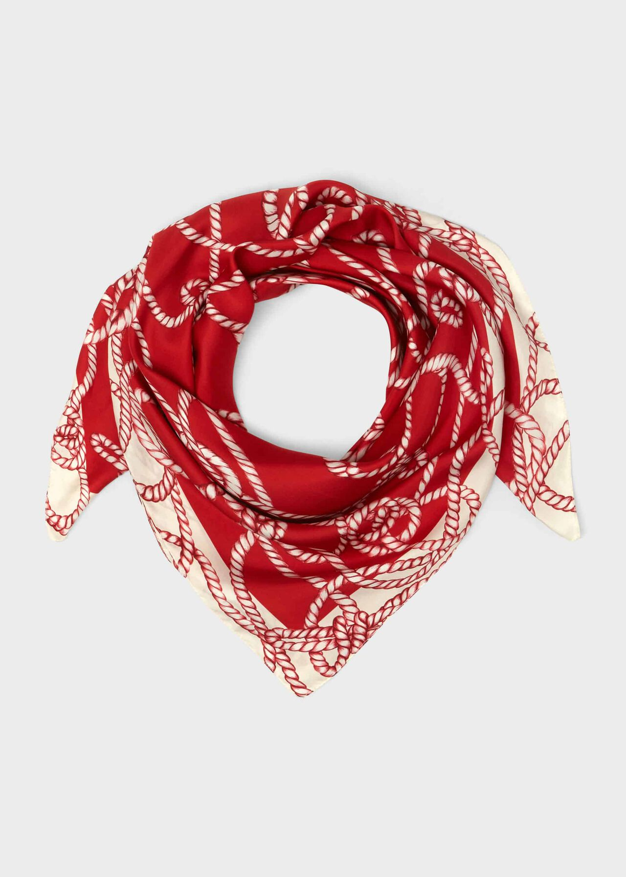 Brooke Printed Silk Scarf , Red Ivory, hi-res