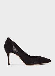Layla Leather Court Shoes, Black, hi-res