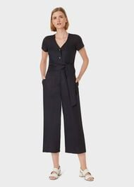 Jayne Linen Cropped Jumpsuit, Black, hi-res