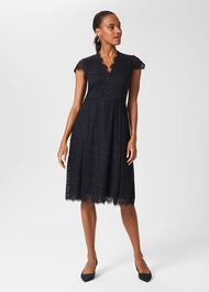 Anastasia Lace Fit And Flare Dress, Navy, hi-res