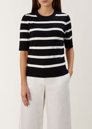 Paula Striped Sweater, Black Ivory, hi-res