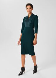 Alisa  3/4 Sleeve A-Line Dress , Dark Green, hi-res