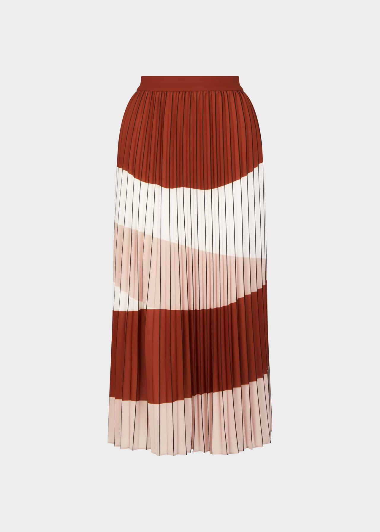 Bess Stripe Midi Skirt Ivory Rust