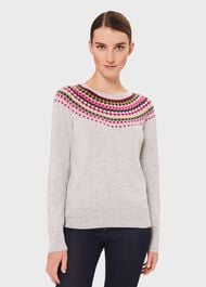 Greta Fairisle Jumper With Cashmere, Grey Pink Lime, hi-res
