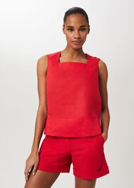 Catriona Linen Square Neck Top, Coral Red, hi-res