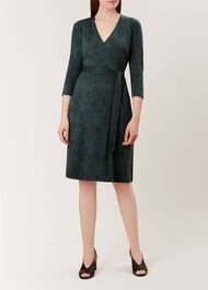 Delilah Wrap Dress, Khaki Black, hi-res