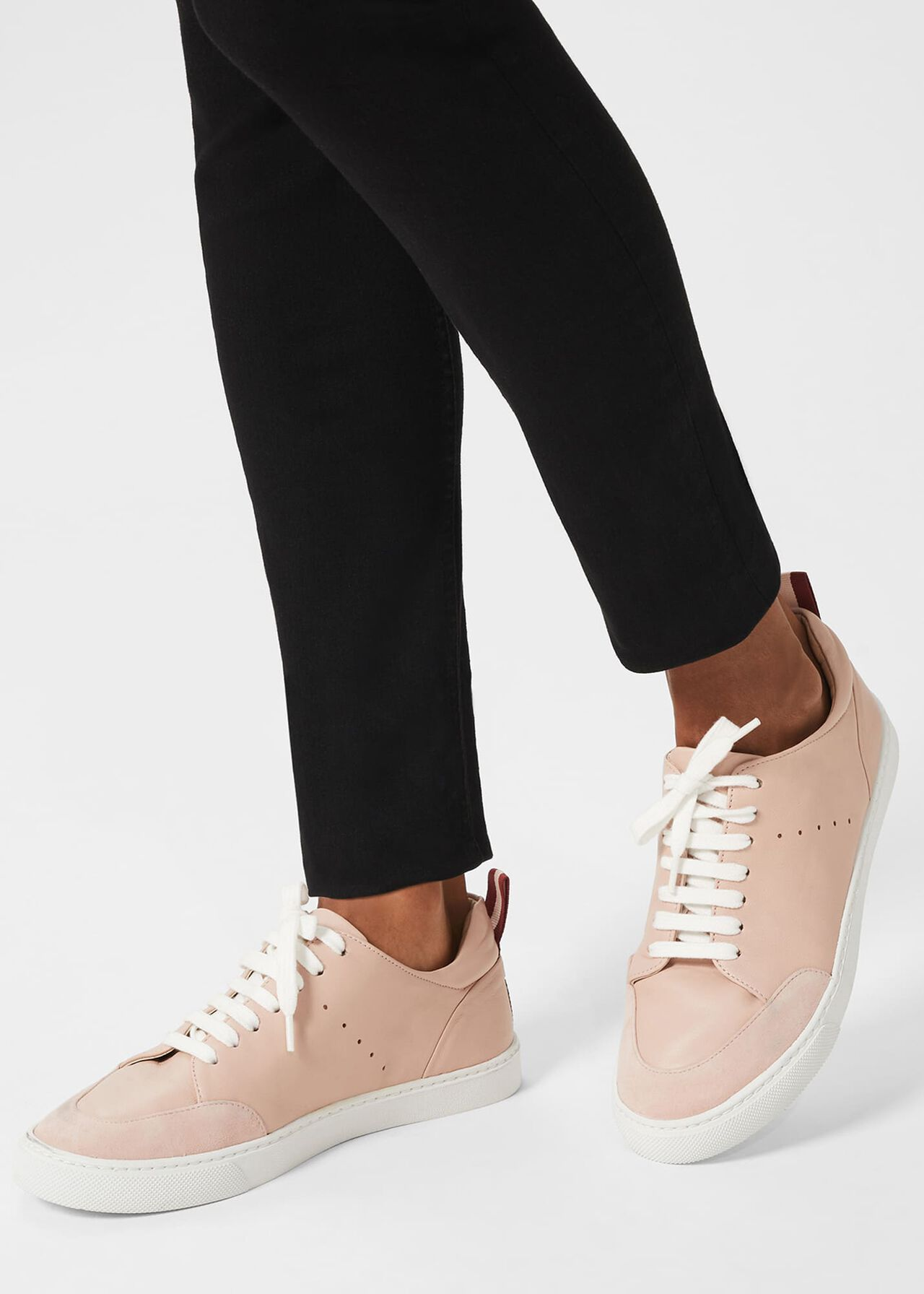 Liberty Leather Trainers, Pale Pink, hi-res