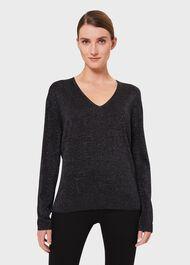 Mae Sparkle Sweater, Black Silver, hi-res