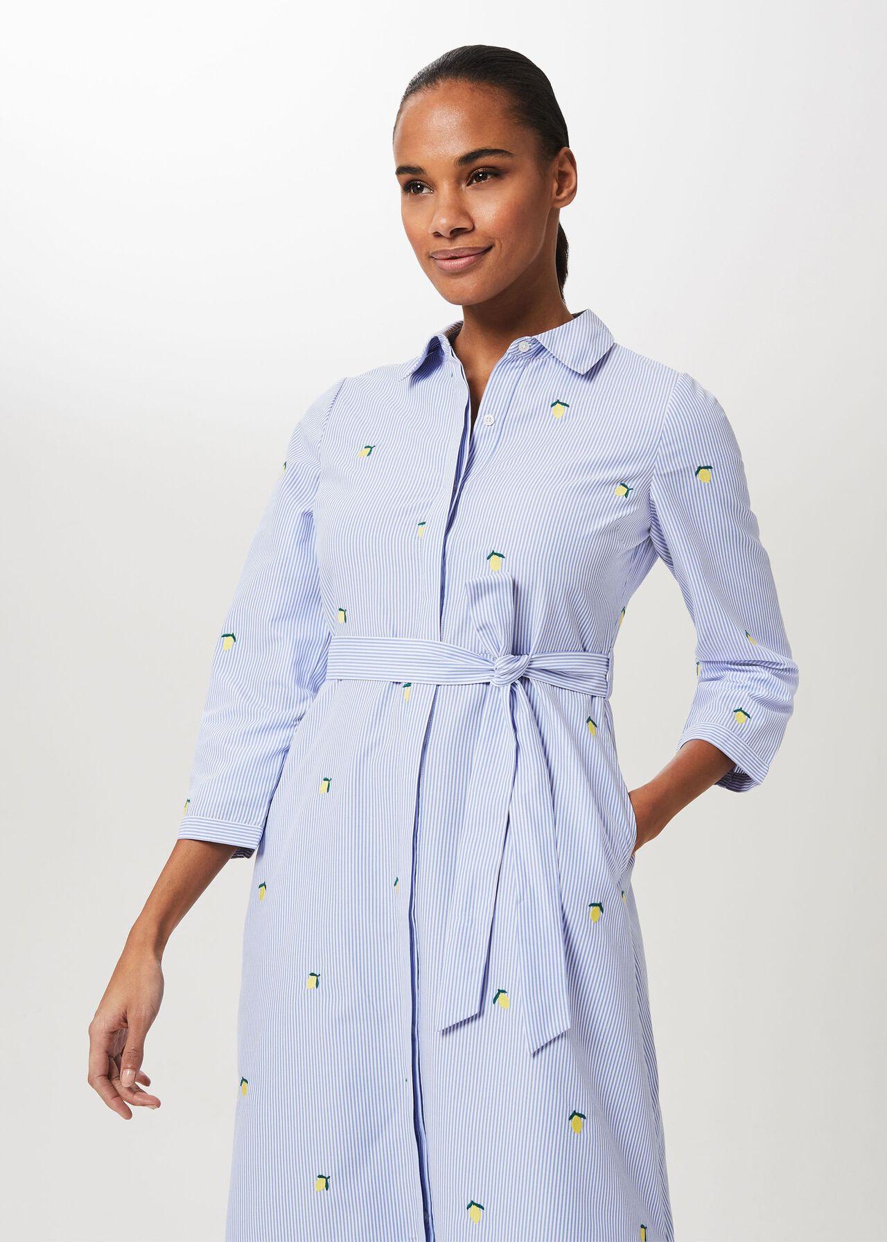 Safia Midi Dress, Blue White, hi-res