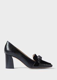 Katherine Leather Reptile Court Shoes , Black, hi-res
