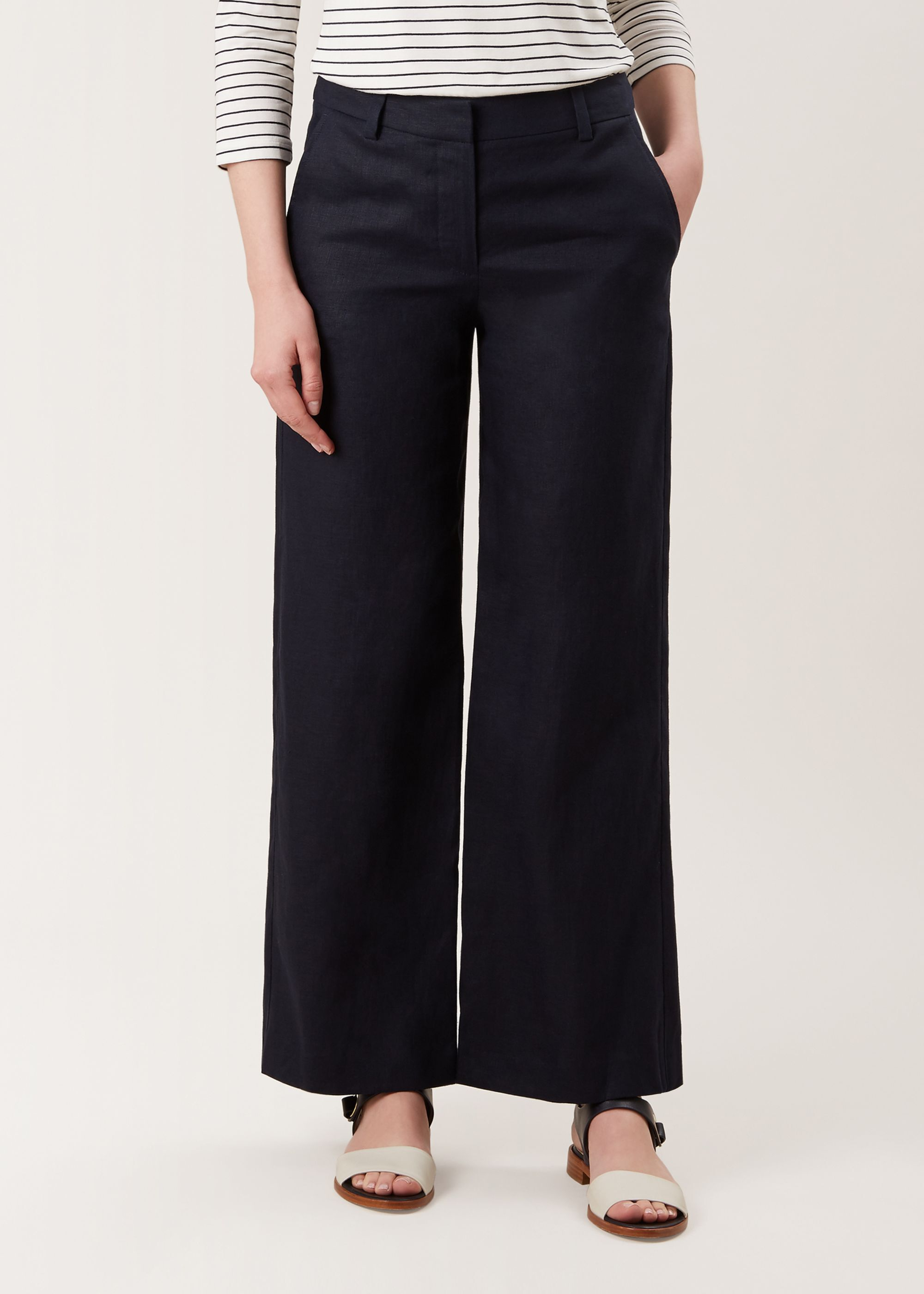 Quality Swedish Brand Womens Extra Long Navy Linen Trousers Size 6 8 10 12