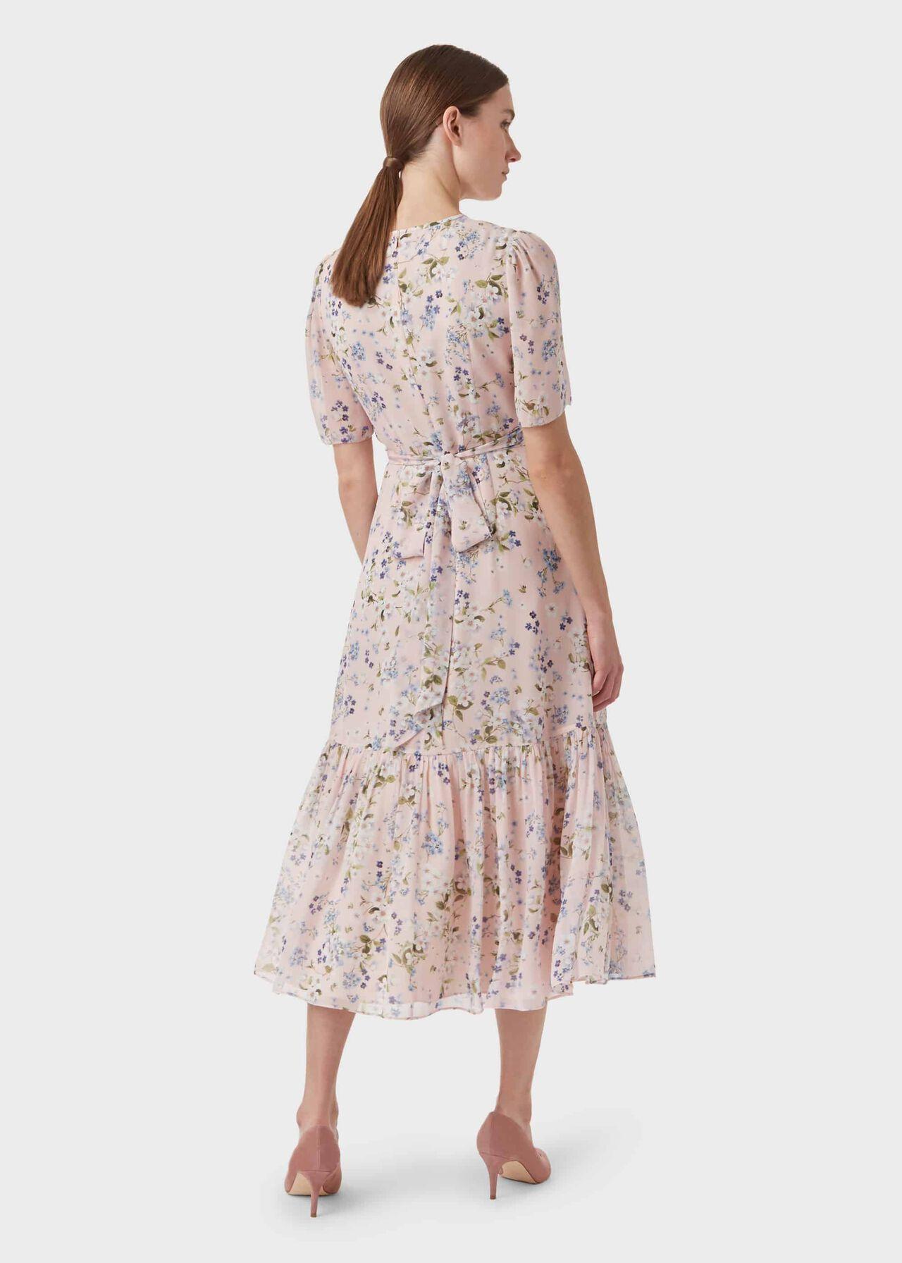 Silk Blossom Floral Midi Dress, Blossom Pink, hi-res