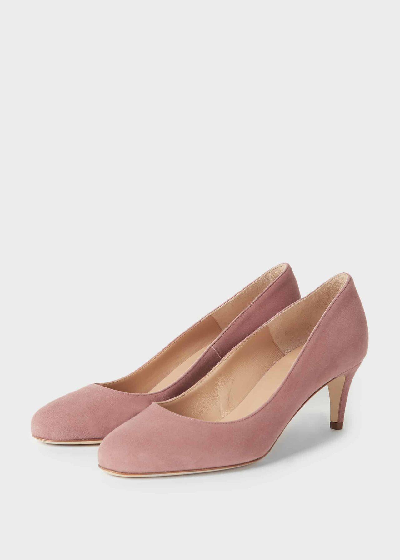 Emma Suede Stiletto Court Shoes Dusky Pink