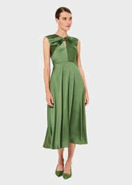 Cassandra Twist Neck Satin Dress, Fern Green, hi-res