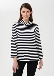 Adriana Stripe Top, Ivory Navy, hi-res